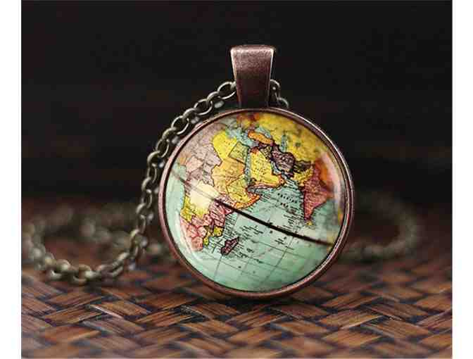 Vintage Looking World Globe Necklace!