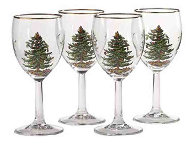 12 Spode Hand Painted 'Christmas Tree' Wine Glasses with Gold Rim!