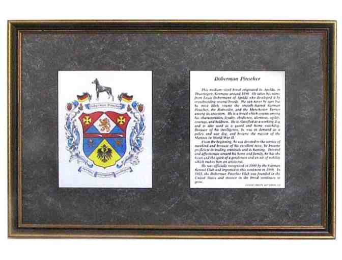 Vintage Framed Doberman Pinscher Coat of Arms