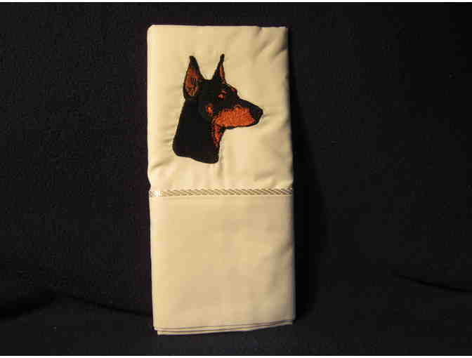Doberman embroidered pillow cases