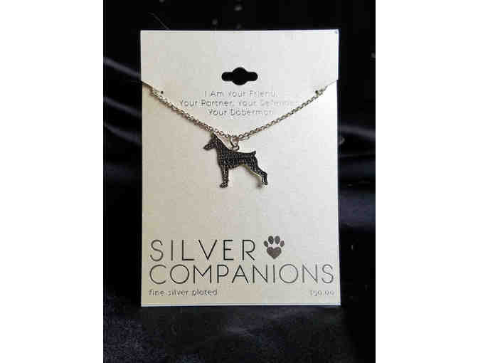 Silver plated Doberman charm & chain