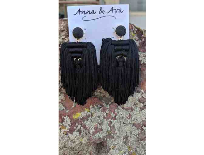 Anna & Ava Tassel Earrings - Black/Gold