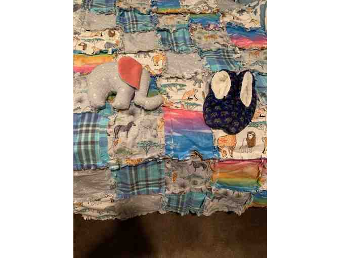 Handmade Patchwork Blanket + Ele Stuffie + Slippers - Photo 1