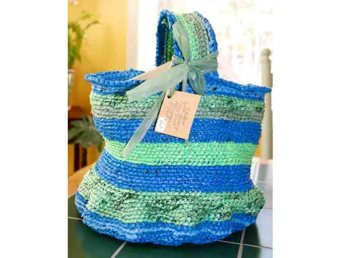 Upcycled Plastic Tote - Blue/Green