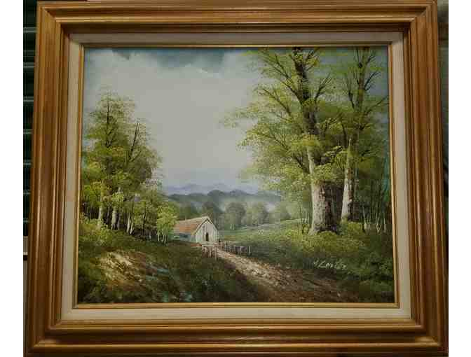 Framed Oil Painting 'Nestled in the Valley' by M. Carter