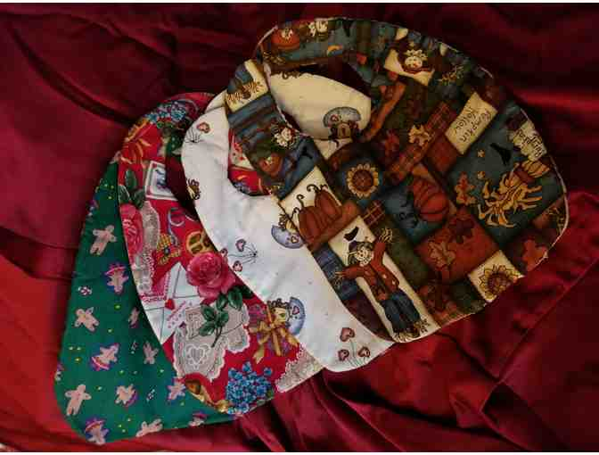4 Handmade 2-Sided Holiday Baby Bibs