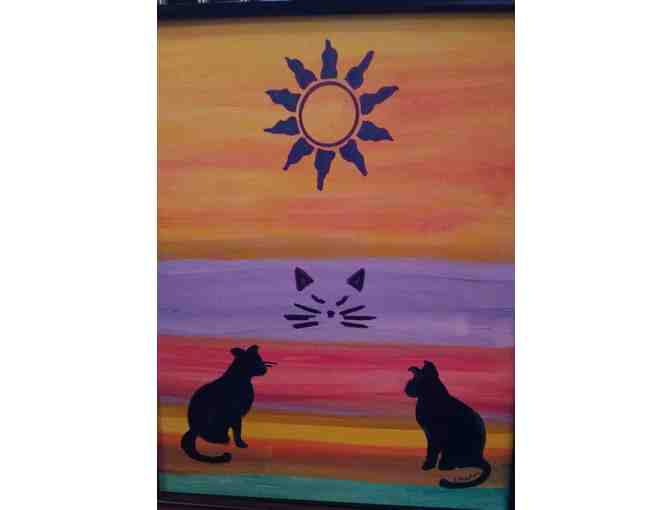 """Sun Cats"" Acrylic painting by Rosemary Gallick - Photo 1"