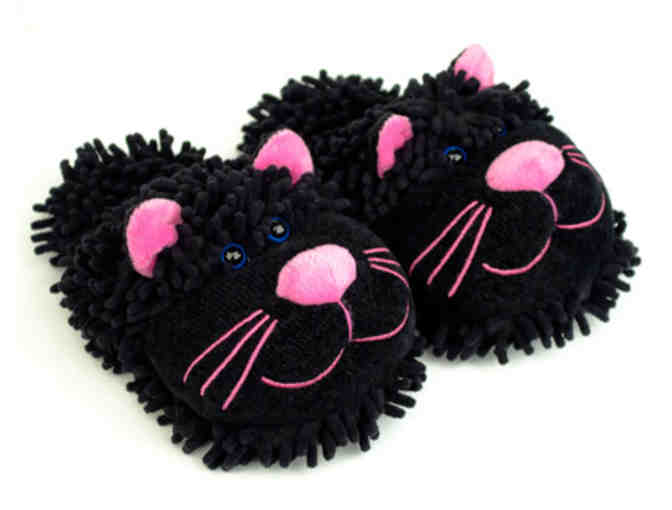 Fuzzy Black Cat Slippers by Bunny Slippers