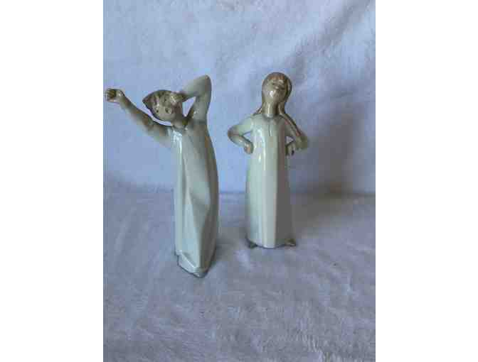 Retired Authentic Porcelain Lladro 'Boy Yawning' and 'Girl Stretching'