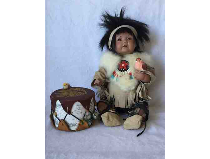 Handmade Porcelain Native American Child with Drum