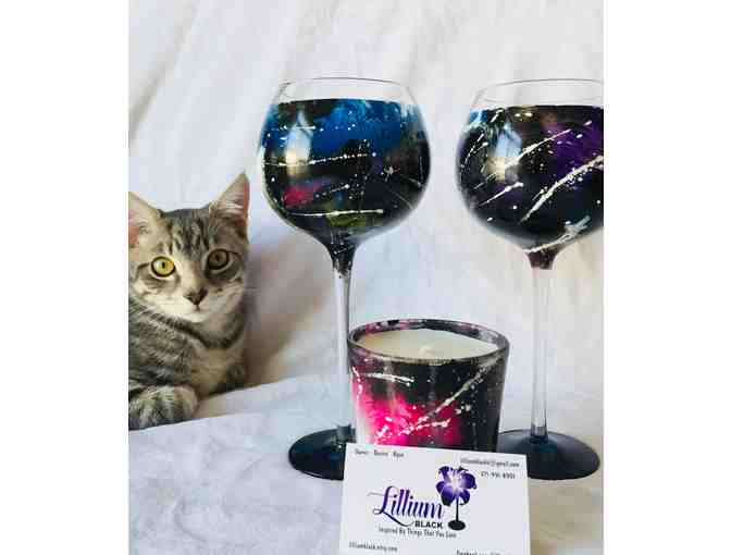 Hand painted wine glasses and candle by Lillium Black