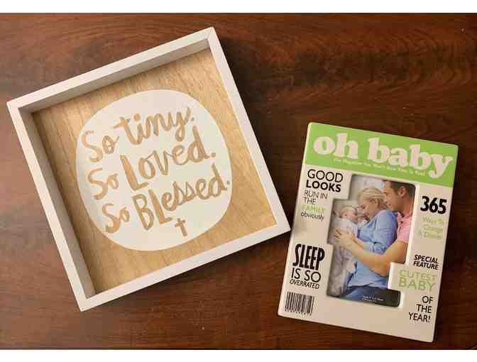 Baby-themed wood sign and picture frame