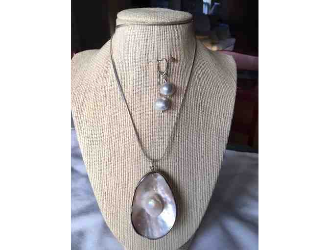 Sterling Silver Chain with Mother of Pearl & Matching Earrings