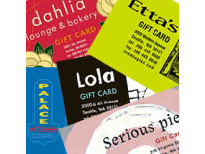 $100 to Tom Douglas Restaurants  (two $50) Gift Cards