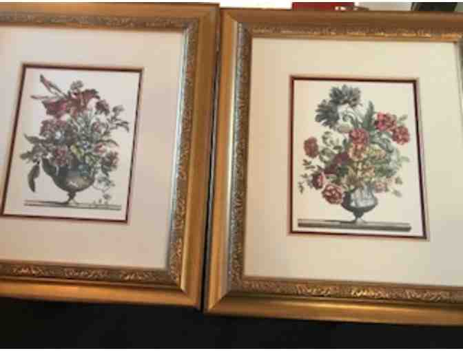 Framed Botanical Prints of Flowers in Vases