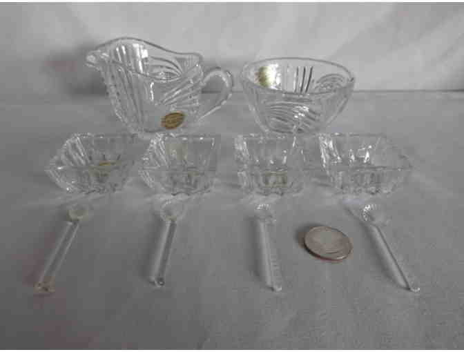 Crystal Sugar, Creamer and Spice Set