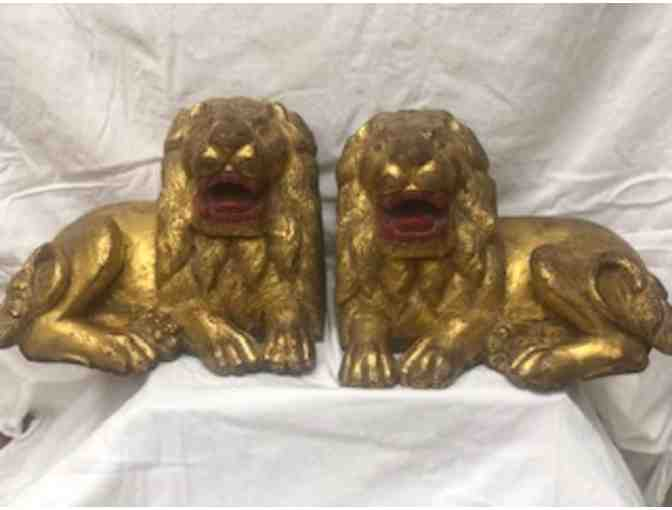 Wooden Lions in Lacquered Gilded Wood - Indonesian