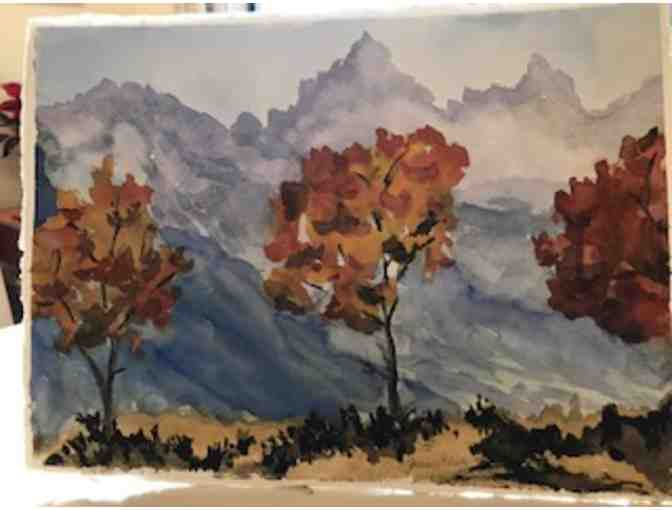 Original Artwork - Framed Painting of Fall Trees by our own Joan Glick
