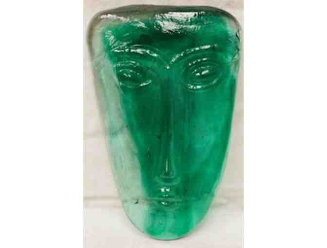 KOSTA BODA 1960'S ERIK HOGLUND GREEN ART GLASS FACE MASK