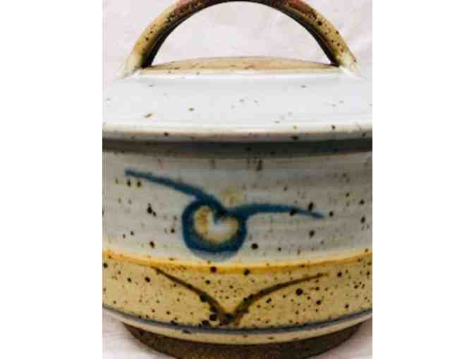 Asian Influence Ceramic Pot with Handles  and Lid