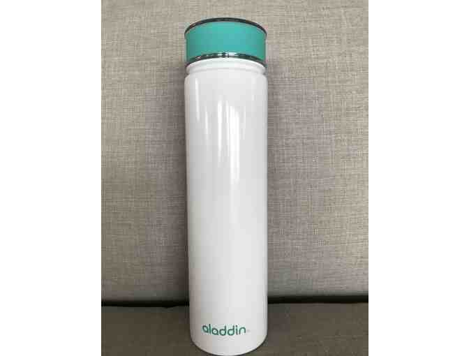 Aladdin White and Turquoise Stainless Steel Insulated Water Bottle
