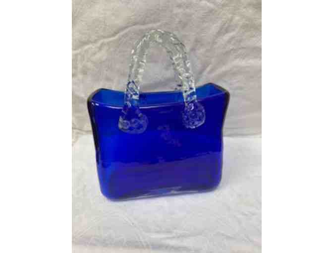 Electric Blue Glass Basket for Flowers or Decor