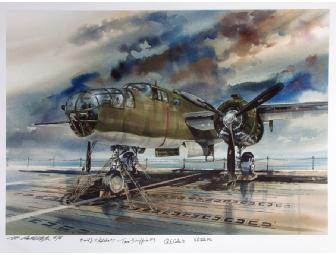 Signed Watercolor Print by M. Randall Mytar, Aviation Artist