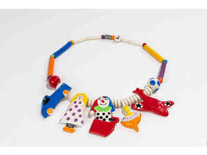 Candace Loheed for Ruby Z. Whimsical Vintage Childrens Toys Ceramic Necklace