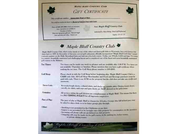 Round of golf for four with carts at Maple Bluff Country Club