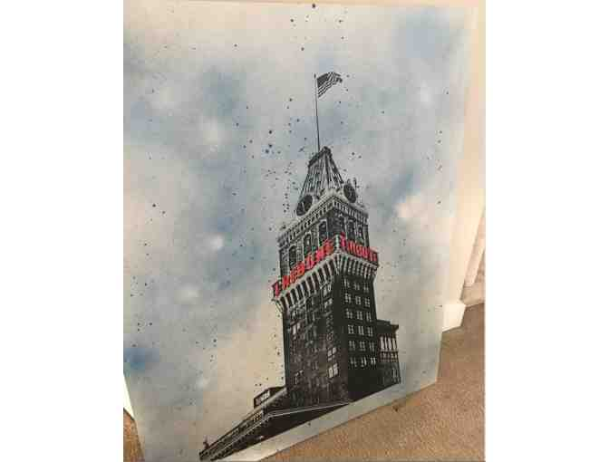 Historic Oakland Tribune newspaper tower, acrylic screenprint