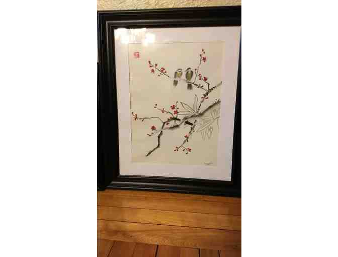 'Lovebirds' Asian Brush Painting by Romina Sarreal Ford