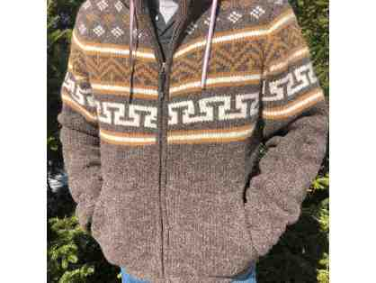 Sherpa Men's Handknit zipper front sweater jacket size L