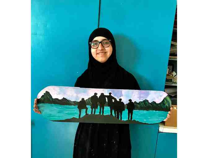 Original Skateboard Artwork by Lane Student, Kareema Godhrawala