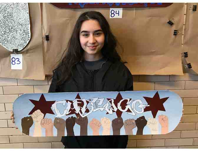 Original Skateboard Artwork by Lane Student, Ximena Gonzalez