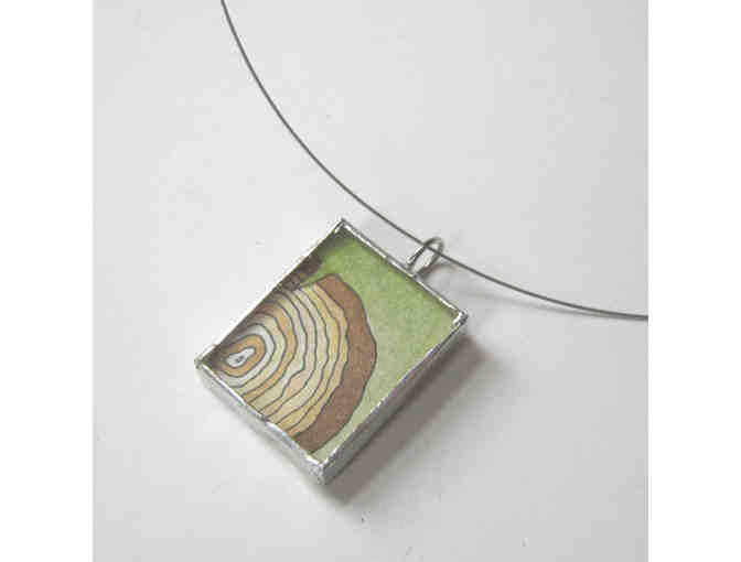 Amy Rubin Flett: Hand-painted 'Wood Tree Rings' Necklace