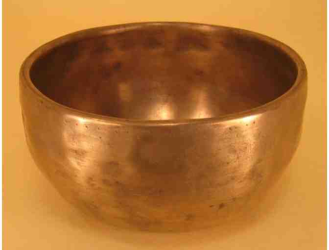 Best Singing Bowls: Small Antique Singing Bowl with Leather-bound Ringing Stick