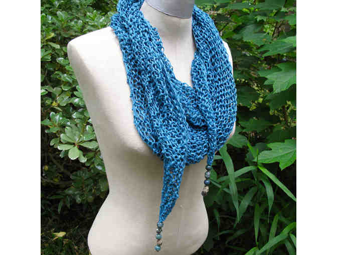 On Slender Threads: Aqua Corn-Fiber Mindfulness Mantle with Ocean Jasper Beads