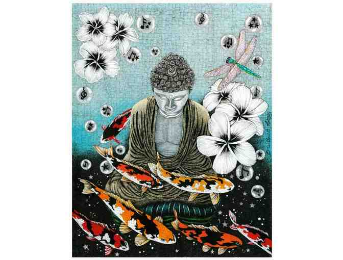 Willow Norris: 'Dragonfly Dream V: Peace and Prosperity at the Fish Pond' Print