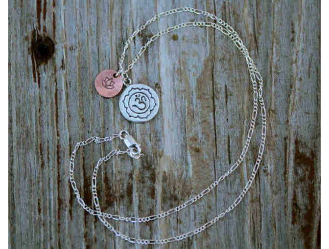 Amy Waltz: 'Sterling Silver OM with Copper Lotus' Necklace