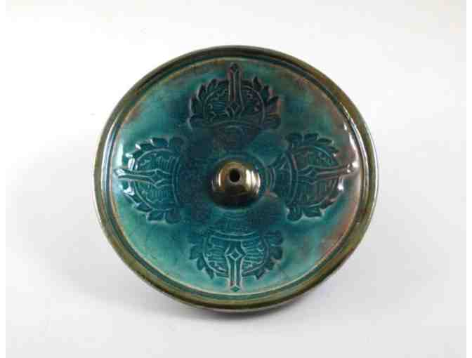 De Baun Fine Ceramics: Handmade Ceramic Raku Incense Burner with Vajra