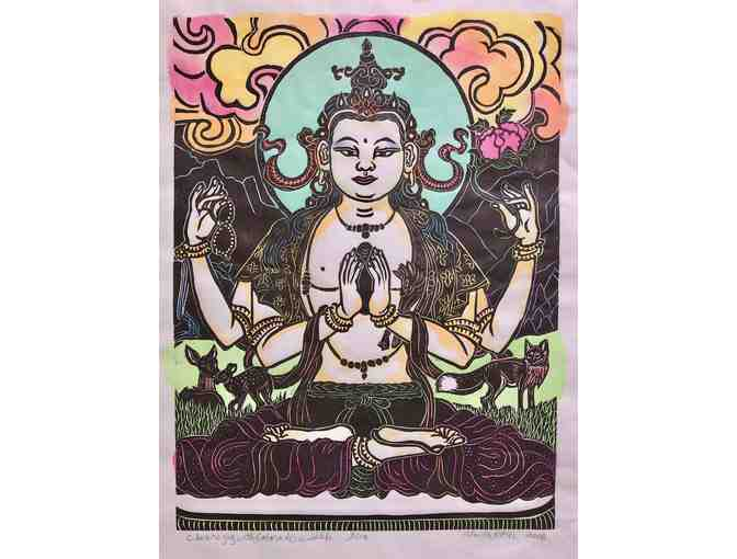 Faith Stone: 'Chenrezig: Bodhisattva of Compassion' Original Woodblock Print