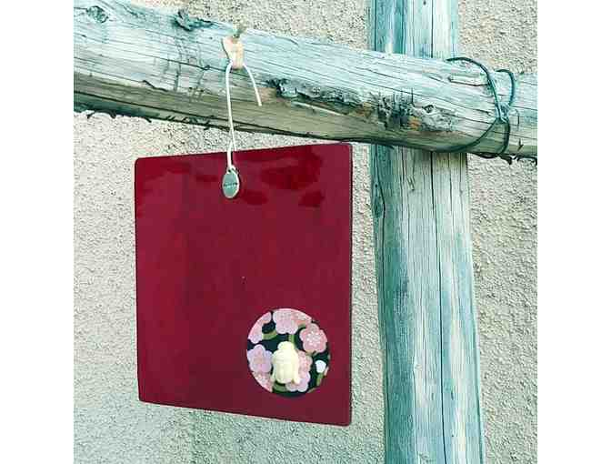 Nisa Designs: 'Floral Buddha' Glass Wall Hanging