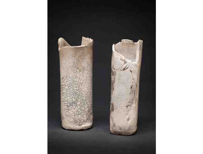Mindy Moore: 'Duet' Raku-Fired Stoneware Vases with Crackle Glaze