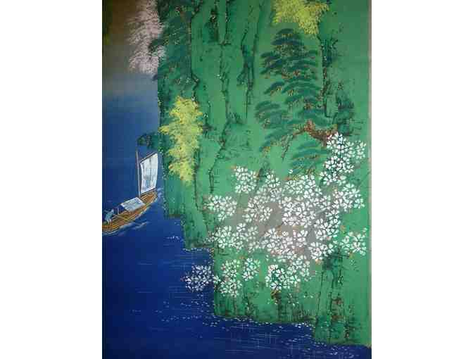 Japanese silk painting: Landscape, Lake with Boat