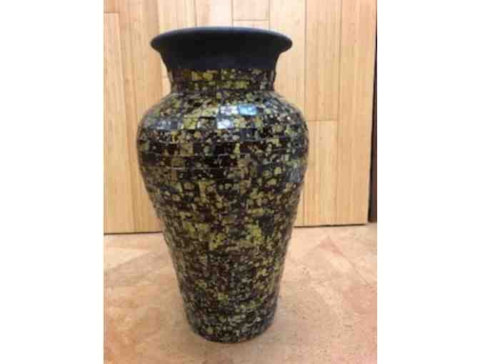 Terra-cotta vase with glass mosaic. Hand made , fair trade in Bali Indonesia. $75 value.