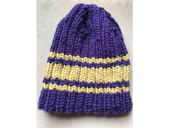 Purple and Gold handknit hat