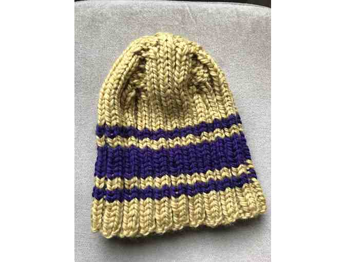 Gold and Purple hand knit hat.