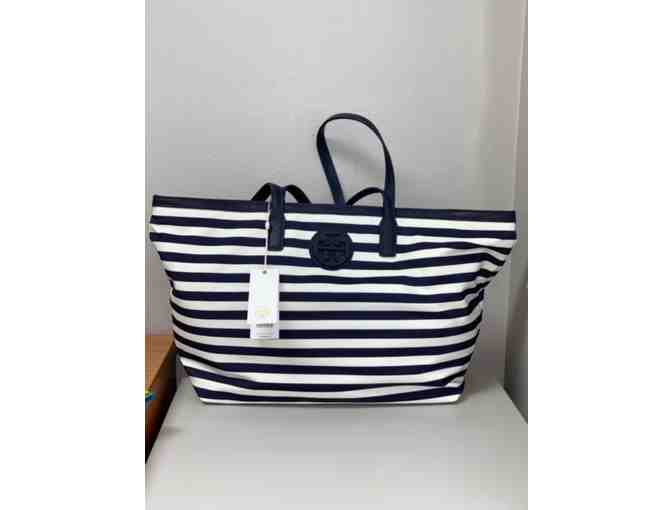 Tory Burch Navy and Ivory Stripe Tote