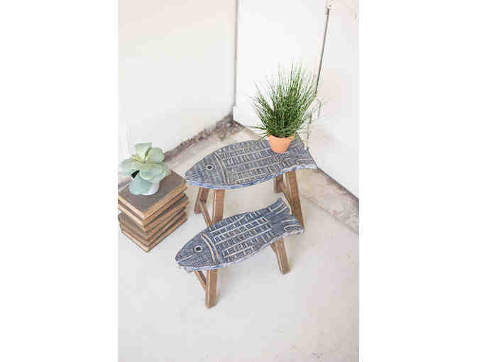 Wooden accent fish stools - Photo 1