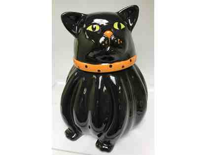 BLACK CAT CERAMIC COOKIE JAR